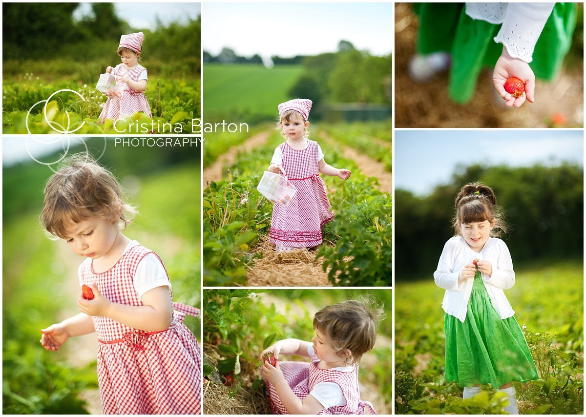summer portraits with strawberries in Hampshire