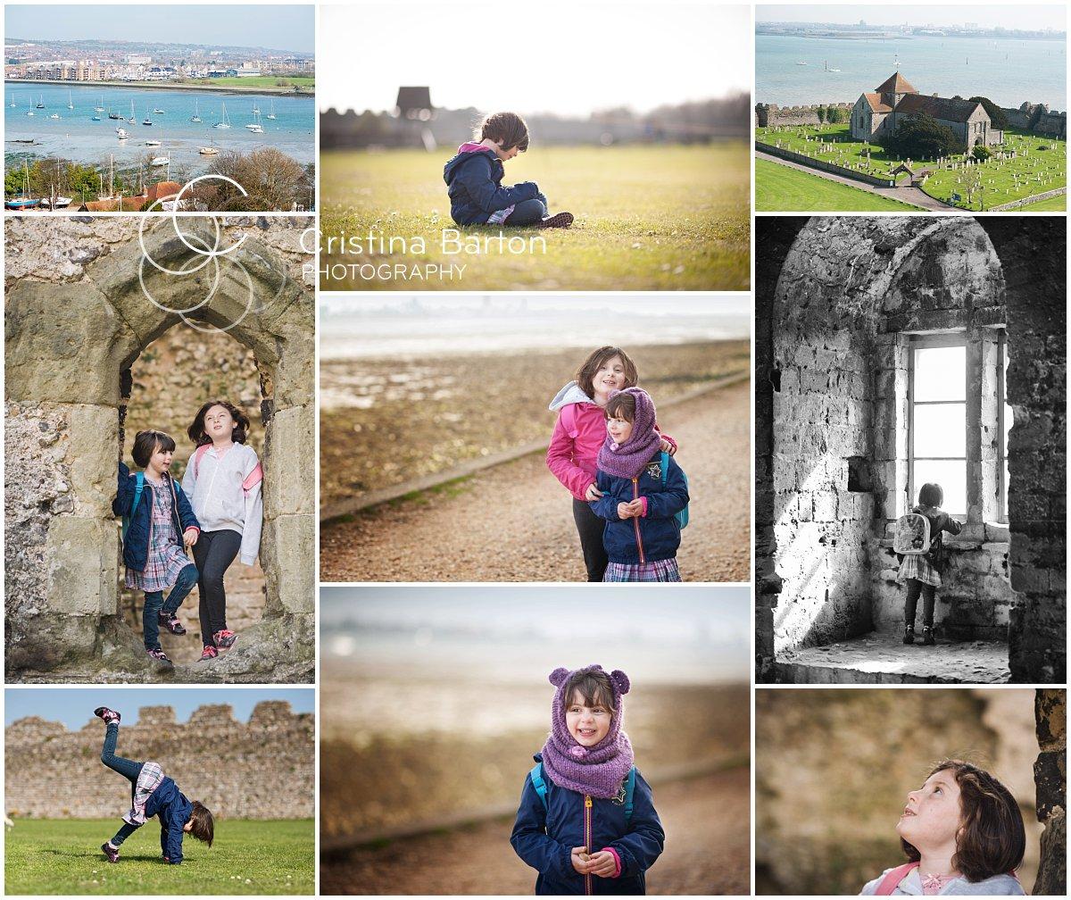 Children's photo shoot on the grounds of Portchester Castle, Fareham.
