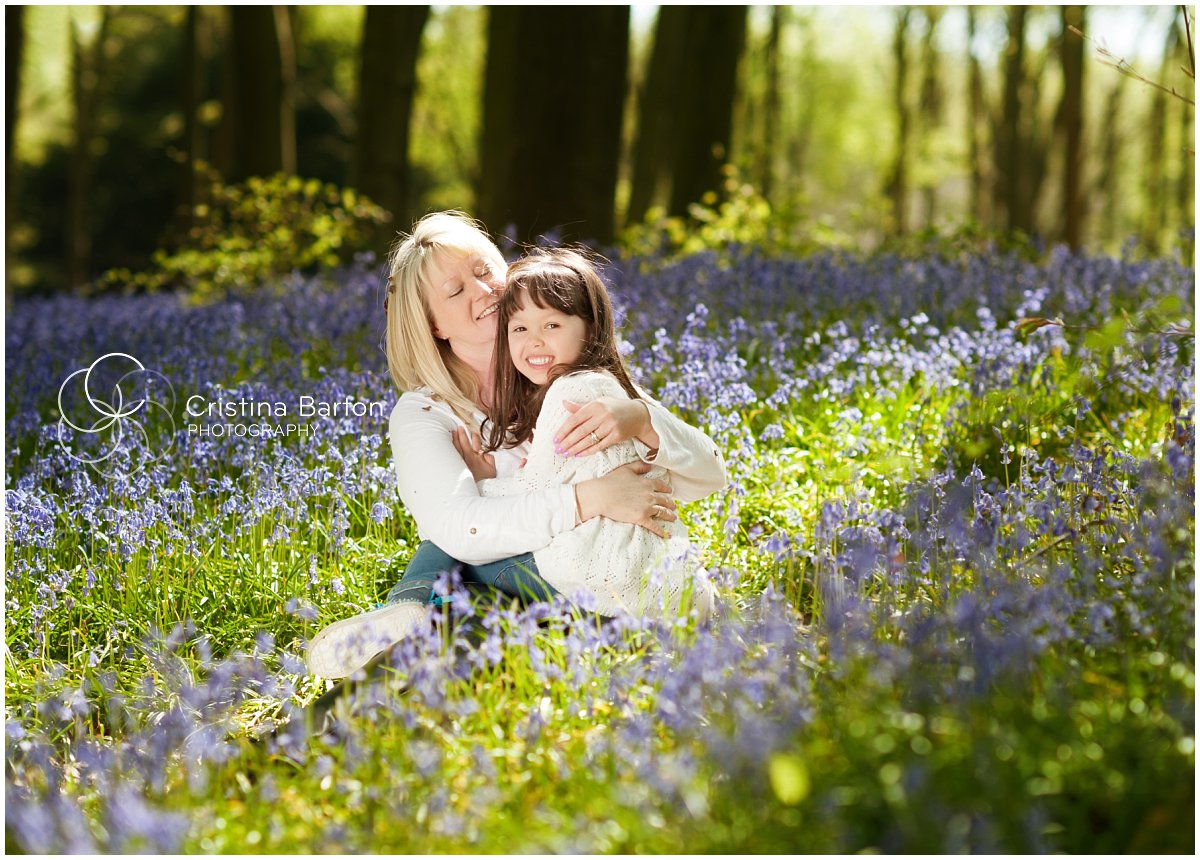 mother and daughter portrait in the bluebells, winchester