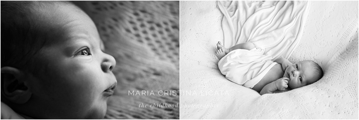 black and white newborn portraits