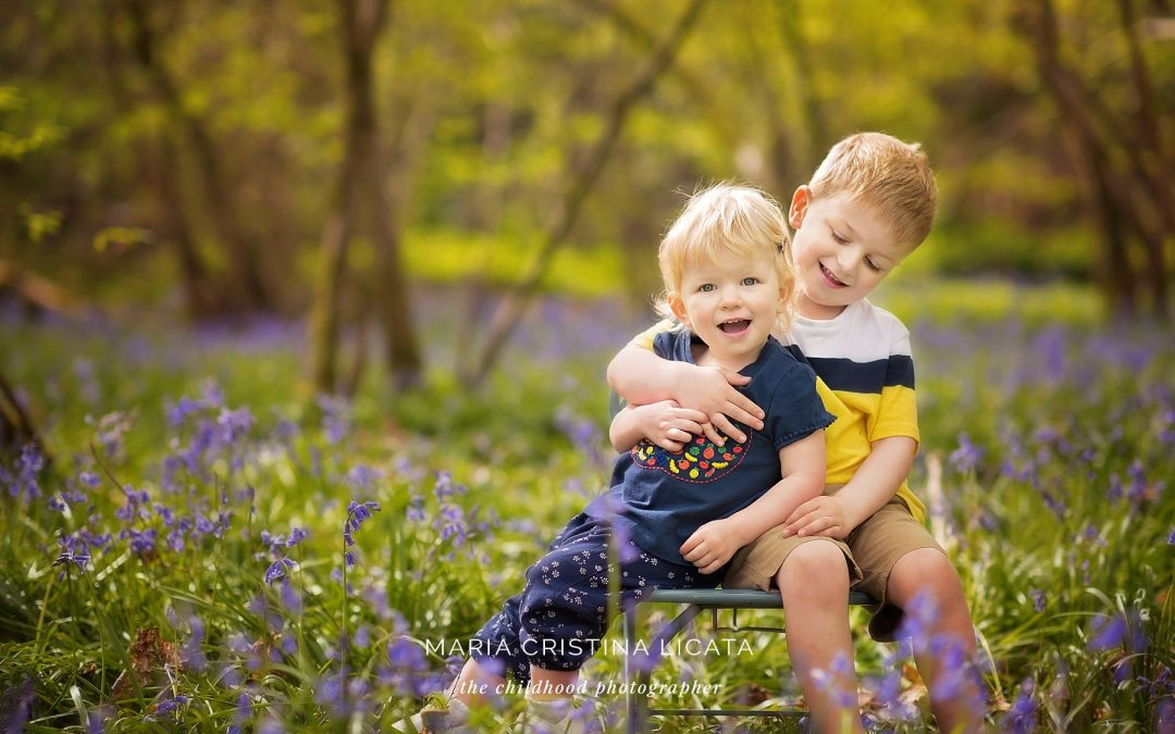 Family spring portraits in the bluebells near Winchester